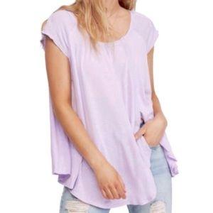 Free People Lilac Fields Scoop Neck Cap Sleeves